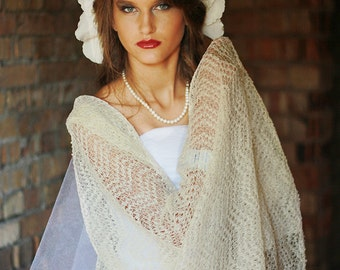 Weddings Ivory Shawl Bridal Stole Linen Shawl Lace Stole Knitted Scarf For Occasions Gauzy Sheer Lace Linen Scarf