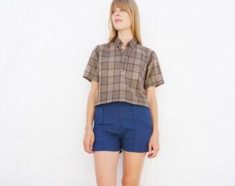 Shirt Plaid 60s Cotton Sz. M