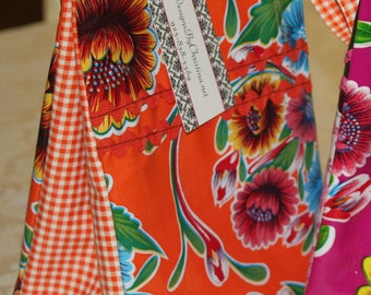Oilcloth Lunch Bag By ChristinaBags Orange With Flowers
