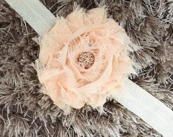 Peach Chiffon Headband, Shabby Chic Newborn Headband, Vintage Style Flower Baby Headband, Shambala Bead Sparkle Newborn Photo Prop  Cij