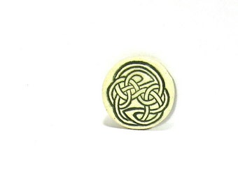 Ceramic Wine Stopper, Golf Ball Marker, Refrigerator Magnet - Celtic Knot in Green or Blue (OOAK Custom Bottle Stopper, Kitchen Magnet)