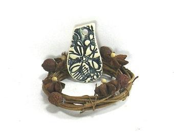 Ceramic Pendant, Stoneware Pendant - Navy Blue Flower Power Pendant (OOAK Stoneware Focal Pendant, Keychain, Gift Tag, Ceramic Necklace)