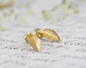 Women's Gift, Gold Stud Earrings, Gold Leaf Earrings, Bridal Post, Gold Studs, Gold Bridal Earrings, Bridal Post Earrings, Spring Wedding