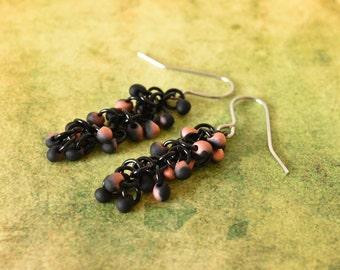 Black Bead Earrings, Chainmaille Earrings, Black and Orange, Halloween Jewellery, Hypoallergenic, Gothic Earrings, Gift for Her, UK Earrings