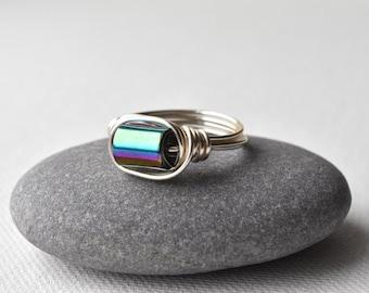Rainbow Ring, Haematite Hematite, Wire Wrapped Ring, Fiddle Ring, Multicoloured, Gemstone Ring, UK Jewellery