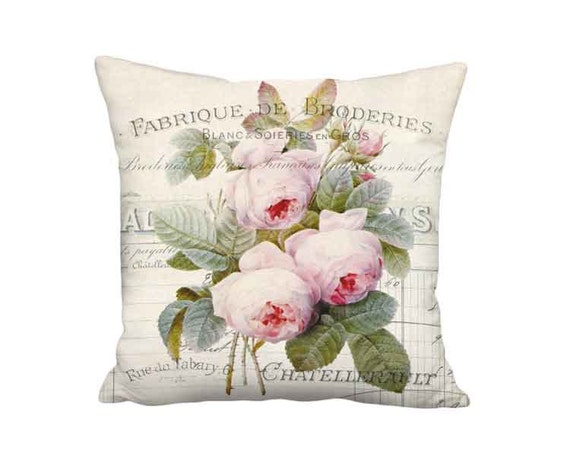 French Document and Roses Pillow - Shabby Chic Pillow - 12x 14x 16x 18x 20x 22x 24x 26x Inch Linen Cotton Burlap French Cottage Pillow Cover