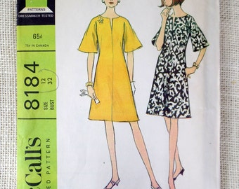 Vintage 1960s Dress Pattern McCall's 8184 A Line Bell Sleeves MIni Dress Mod Hippie Go Go Bust 32 1966