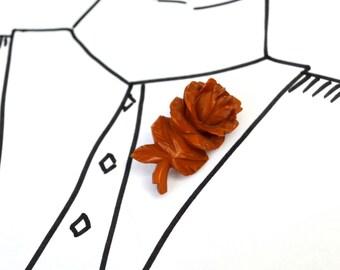 Carved BAKELITE Rose Brooch - Vintage Butterscotch Flower Pin