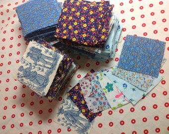 "2 1/2"" squares cut from 1960's cotton, 8 different fabrics totaling 10 ounces"