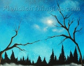 "the Creation of Adam 8"" x 10"" print of an original acrylic painting by Owen Klaas blue trees love lake michelangelo"