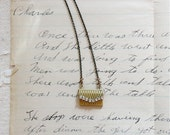 Miniature bronze purse / envelope locket necklace with sparkling rhinestone accents, Pen Me A Letter