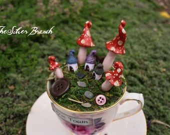 Rose Cup Fairy Village, The Silver Branch Pixie Town, OOAK hand sculpted town in vintage Teacup and Saucer