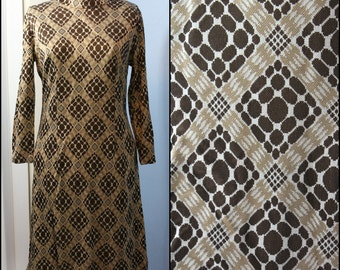 Vintage 1960s 1970s Womens Brown and Tan Geometric Mod Dress Modern Size Large Mad Men by Parkshire Original