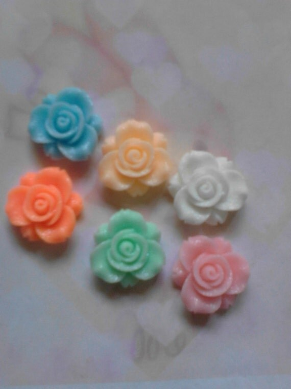 Kawaii pastel color rose cabochon decoden deco charms 23 mm        6 pcs