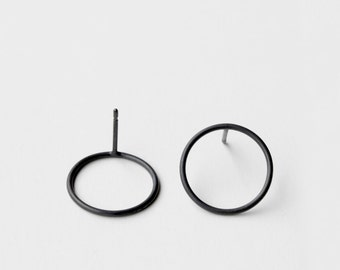 Circles . oxidized sterling silver post earrings