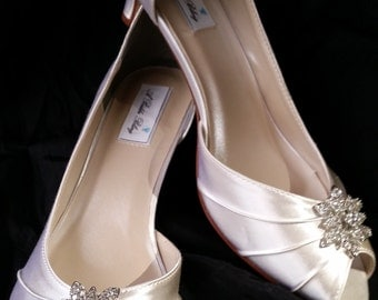 Wedding Shoes Ivory and White Bridal Shoes Vintage Flower Design Over 100 Custom Color Choices