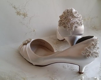 Ivory Wedding Shoes Ivory Bridal Shoes with Crystal Brooch and Beading Applique Design -100 Additional Colors To Pick From