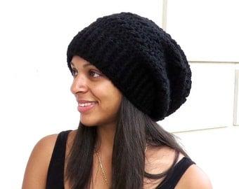 Crochet Slouchy Hat, Olive, Ribbed, Puff Stitch Hat, Women, Men, Teen, Tam,  Adult, Black