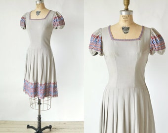 1940s Grey Dress --- Vintage Embroidered Dress