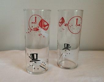 Vintage Set of Two Opera Motif Glasses