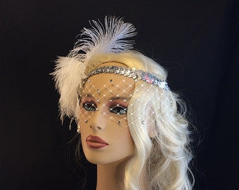Great Gatsby Headband, Flapper Headband, Downton Abbey, Headband, 1920s Head Piece, Art Deco Headband, Rhinestone Veil/Mask