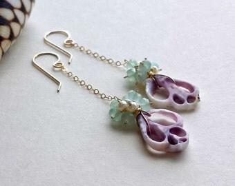 Purple Shell Dangle Earrings, Lavender Aqua Earrings, Cebu Shell Earrings, Lavender Mint Dangle Earrings:  Ready to Ship