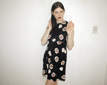 90s floral print sleevless dress size 7