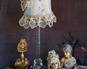 SALE!  Vintage French Nude SHABBY Flapper Boudoir Lamp - Hand-sewn - CRYSTAL Lamp