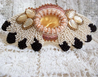 Native American Beaded Hairclip Barrette Eagle Feather Design MOP Vintage Czech Seed Beads Beadwork Smoked Deer Hide backing Hair Clip