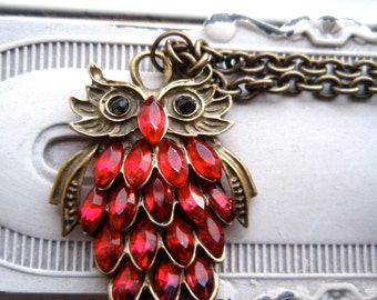 Red Owl Pendant in Antique Bronze, Red Owl Necklace, Black Eyed Owl Necklace