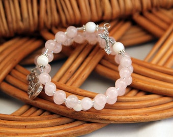Holy Family Rosary Bracelet, Rose Quartz and Shell