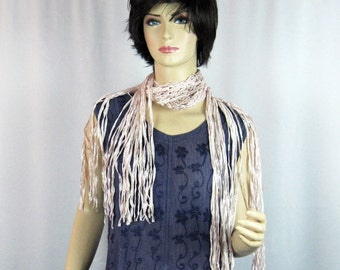 Fringed Scarf, Crocheted, Delicate Pink, Taupe, Cotton Rayon Ribbon, Luxurious, Shiny, Handmade, Extra Long Fringe, Shawlette, Pastel Tones