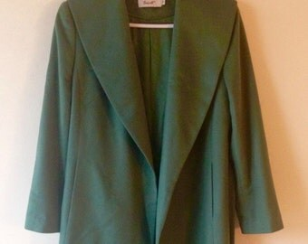 Vintage true cashmere mint green long wrap coat with belt and silk lining