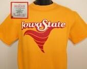 Iowa State Cyclones vintage short-sleeved sweatshirt yellow S/M 70s football basketball tailgating