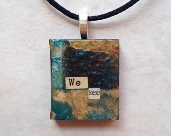 Mixed Media Abstract Textured Art Pendant Necklace with words