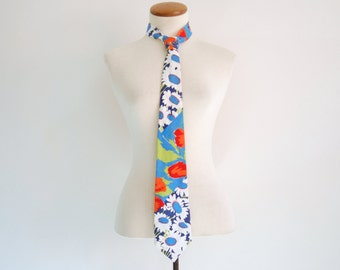 60s floral necktie - vintage mod hippie retro neon daisy flower print cotton wide tie blue white red green bright womens geek chic menswear