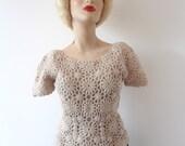 1950s Crochet Sweater - vintage bisque lace knit top