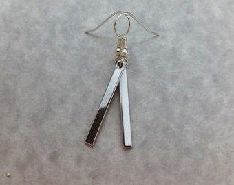 Silver Bar Earrings, Skinny Bar Earrings, Stick Earrings, Vertical Bar Earrings, Long Bar Earrings, Simple Earrings, Long Bar Earrings 029