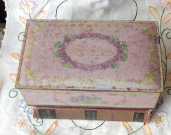 Antique decorative Tin LOUIS SHERRY Box Lilac canister hinged~kitchen~victorian~shabby chic~storage~jewelry
