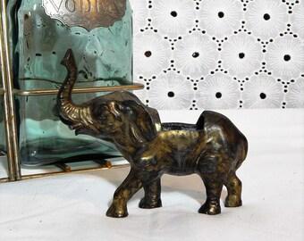 Vintage Elephant Statue~Heavy Metal~Open Cavity Convertible Figurine
