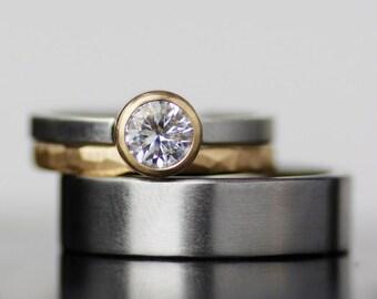 womens wedding band set, moissanite, palladium, and gold wedding band, womens wedding ring set, engagement ring set, mens wedding band
