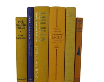 Yellow Decorative Books , Yellow Purple Orange   Vintage Books , Home Decor , Old Books ,  Photo Prop , Table Setting , Wedding Decor