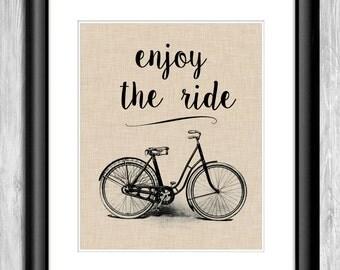 Enjoy the Ride Printable Wall Art - Bicycle Print Home Decor - Inspirational Printable Quote - Bike Printable Art - Bicycle Poster Printable