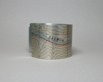 Salmon River Idaho Cuff Bracelet Unique Gift for Fishing Canoeing Rafting Outdoorsman Men or Women