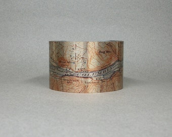 Washington Oregon Columbia River Cuff Bracelet Map Hiking Gift for Men or Women