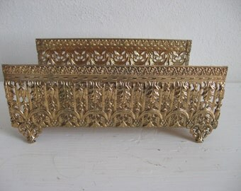 Filigree Facial Tissue Holder Mid-Century Gold tone