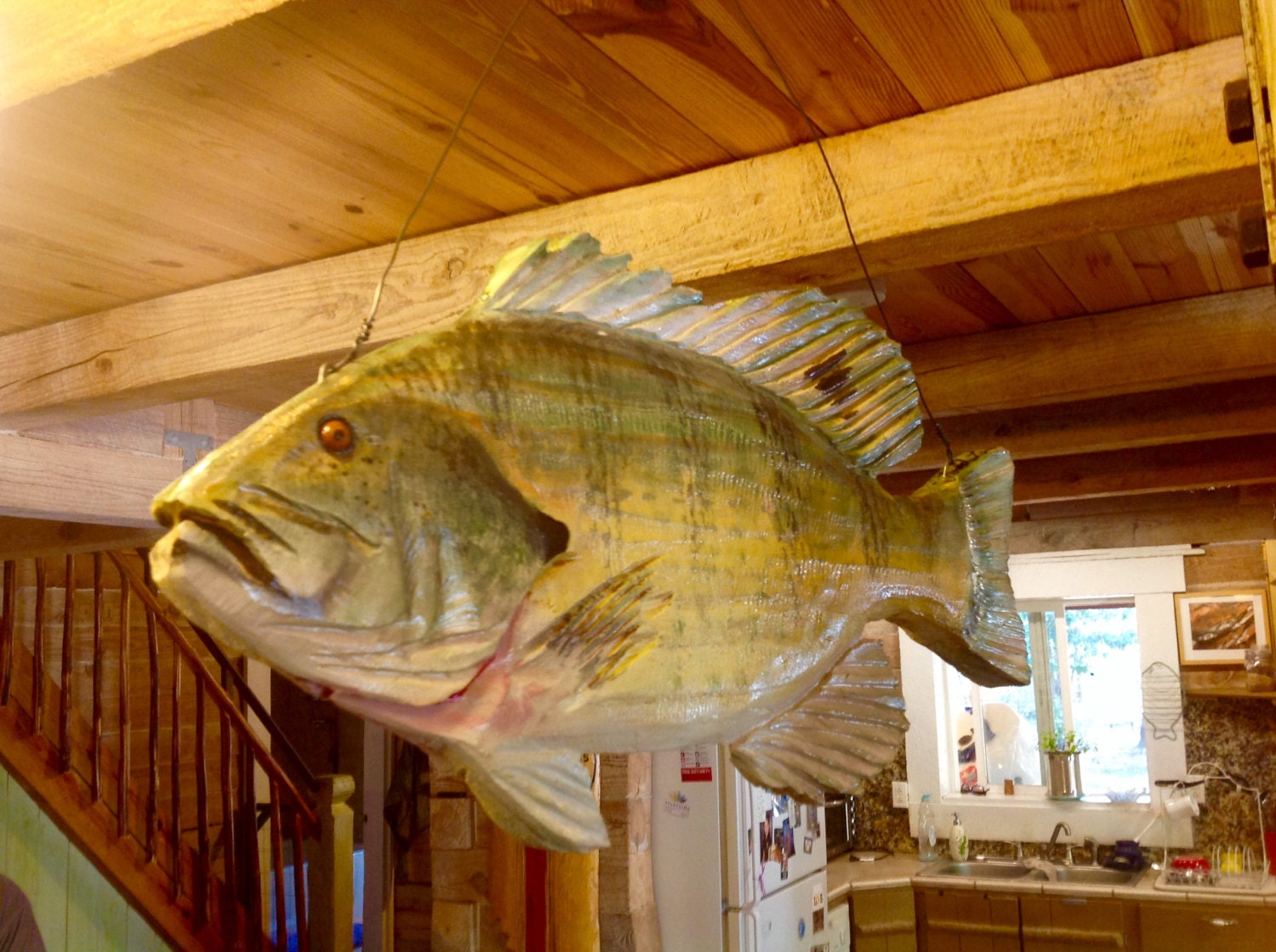 Blue gill mobile chainsaw wooden fish carving two