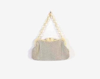 Vintage 40s WHITING & DAVIS Purse / 1940s WWII Era Celluloid Chain Ivory Metal Mesh Handbag
