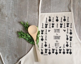 Apron - Turnip the Beet Apron Baking Cooking Baker Chef Cotton Canvas Full Apron Fall Baking Cooking Holiday Baking Food Kitchen