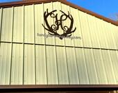 EXTRA LARGE Deer Antler Monogram- Holiday Trimmings™ Wooden Monogram Letter- Interlocking Script, Door Hanger Wreath- rustic cabin decor